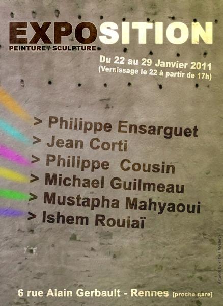 """Flyer """"Peintures, Sculptures, collages et Volumes : Exposition à Rennes du 22 au 29 Janvier 2011"""""""